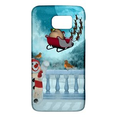 Christmas Design, Santa Claus With Reindeer In The Sky Galaxy S6 by FantasyWorld7