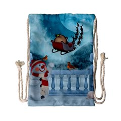 Christmas Design, Santa Claus With Reindeer In The Sky Drawstring Bag (small)
