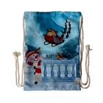 Christmas Design, Santa Claus With Reindeer In The Sky Drawstring Bag (Small) Front