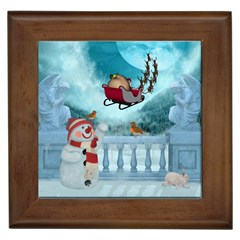 Christmas Design, Santa Claus With Reindeer In The Sky Framed Tiles by FantasyWorld7
