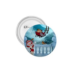Christmas Design, Santa Claus With Reindeer In The Sky 1 75  Buttons by FantasyWorld7