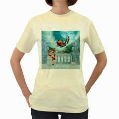 Christmas Design, Santa Claus With Reindeer In The Sky Women s Yellow T-shirt by FantasyWorld7