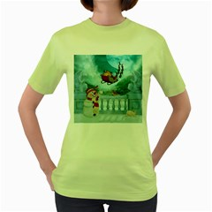 Christmas Design, Santa Claus With Reindeer In The Sky Women s Green T Shirt by FantasyWorld7