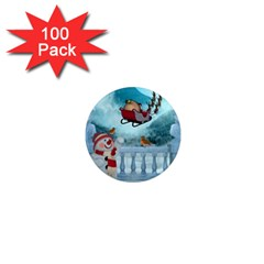 Christmas Design, Santa Claus With Reindeer In The Sky 1  Mini Magnets (100 Pack)  by FantasyWorld7
