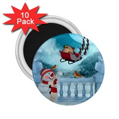 Christmas Design, Santa Claus With Reindeer In The Sky 2 25  Magnets (10 Pack)  by FantasyWorld7