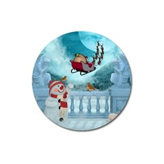 Christmas Design, Santa Claus With Reindeer In The Sky Magnet 3  (round) by FantasyWorld7