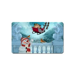 Christmas Design, Santa Claus With Reindeer In The Sky Magnet (name Card) by FantasyWorld7