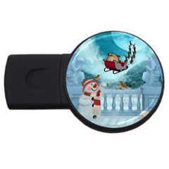 Christmas Design, Santa Claus With Reindeer In The Sky Usb Flash Drive Round (4 Gb) by FantasyWorld7