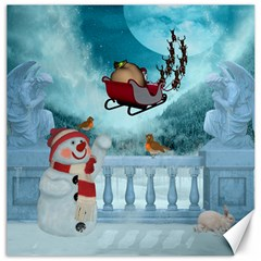 Christmas Design, Santa Claus With Reindeer In The Sky Canvas 12  X 12   by FantasyWorld7