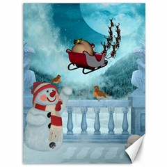 Christmas Design, Santa Claus With Reindeer In The Sky Canvas 36  X 48   by FantasyWorld7