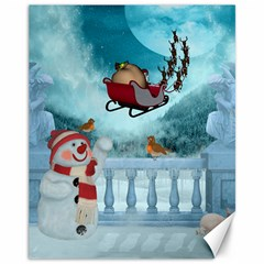 Christmas Design, Santa Claus With Reindeer In The Sky Canvas 11  X 14   by FantasyWorld7