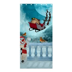 Christmas Design, Santa Claus With Reindeer In The Sky Shower Curtain 36  X 72  (stall)  by FantasyWorld7