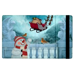 Christmas Design, Santa Claus With Reindeer In The Sky Apple Ipad 2 Flip Case by FantasyWorld7