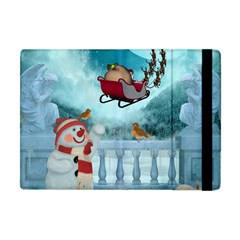Christmas Design, Santa Claus With Reindeer In The Sky Apple Ipad Mini Flip Case by FantasyWorld7