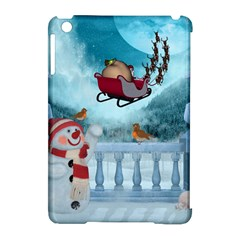 Christmas Design, Santa Claus With Reindeer In The Sky Apple Ipad Mini Hardshell Case (compatible With Smart Cover) by FantasyWorld7
