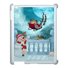 Christmas Design, Santa Claus With Reindeer In The Sky Apple Ipad 3/4 Case (white) by FantasyWorld7