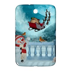 Christmas Design, Santa Claus With Reindeer In The Sky Samsung Galaxy Note 8 0 N5100 Hardshell Case  by FantasyWorld7