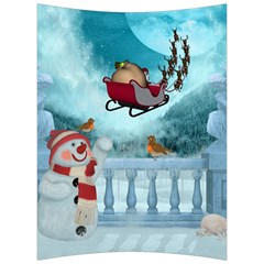 Christmas Design, Santa Claus With Reindeer In The Sky Back Support Cushion by FantasyWorld7