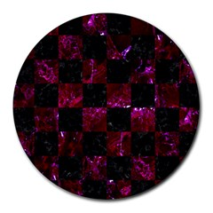 Square1 Black Marble & Burgundy Marble Round Mousepads by trendistuff