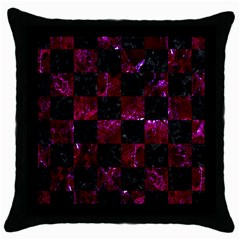 Square1 Black Marble & Burgundy Marble Throw Pillow Case (black) by trendistuff