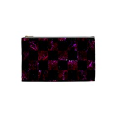 Square1 Black Marble & Burgundy Marble Cosmetic Bag (small)  by trendistuff