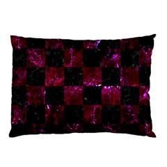 Square1 Black Marble & Burgundy Marble Pillow Case (two Sides) by trendistuff