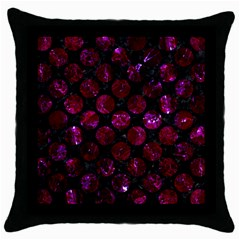Circles2 Black Marble & Burgundy Marble Throw Pillow Case (black) by trendistuff