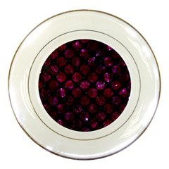Circles2 Black Marble & Burgundy Marble Porcelain Plates by trendistuff