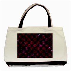 Circles2 Black Marble & Burgundy Marble Basic Tote Bag (two Sides) by trendistuff