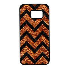 Chevron9 Black Marble & Copper Foil (r) Samsung Galaxy S7 Black Seamless Case by trendistuff