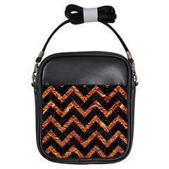 Chevron9 Black Marble & Copper Foil Girls Sling Bags by trendistuff