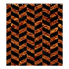 Chevron1 Black Marble & Copper Foil Shower Curtain 66  X 72  (large)  by trendistuff