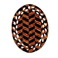 Chevron1 Black Marble & Copper Foil Oval Filigree Ornament (two Sides) by trendistuff