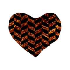 Chevron1 Black Marble & Copper Foil Standard 16  Premium Heart Shape Cushions by trendistuff