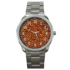 Brick2 Black Marble & Copper Foil (r) Sport Metal Watch by trendistuff