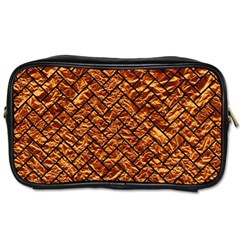 Brick2 Black Marble & Copper Foil (r) Toiletries Bags 2 Side by trendistuff