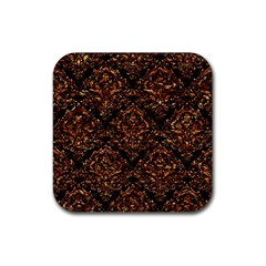 Damask1 Black Marble & Copper Foil Rubber Square Coaster (4 Pack)  by trendistuff