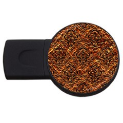 Damask1 Black Marble & Copper Foil (r) Usb Flash Drive Round (2 Gb) by trendistuff