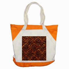 Damask1 Black Marble & Copper Foil (r) Accent Tote Bag by trendistuff