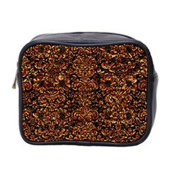 Damask2 Black Marble & Copper Foil Mini Toiletries Bag 2 Side by trendistuff