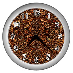 Damask2 Black Marble & Copper Foil (r)2 Black Marble & Copper Foil (r) Wall Clocks (silver)  by trendistuff