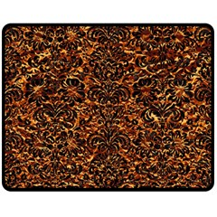 Damask2 Black Marble & Copper Foil (r)2 Black Marble & Copper Foil (r) Double Sided Fleece Blanket (medium)  by trendistuff