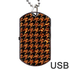 Houndstooth1 Black Marble & Copper Foil Dog Tag Usb Flash (one Side) by trendistuff