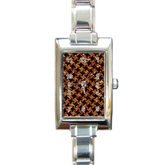 Houndstooth2 Black Marble & Copper Foil Rectangle Italian Charm Watch by trendistuff
