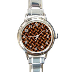 Houndstooth2 Black Marble & Copper Foil Round Italian Charm Watch by trendistuff
