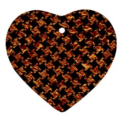 Houndstooth2 Black Marble & Copper Foil Ornament (heart) by trendistuff