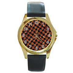 Houndstooth2 Black Marble & Copper Foil Round Gold Metal Watch by trendistuff