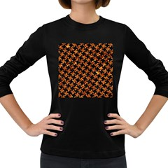 Houndstooth2 Black Marble & Copper Foil Women s Long Sleeve Dark T Shirts by trendistuff