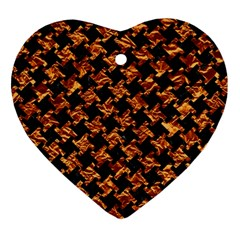 Houndstooth2 Black Marble & Copper Foil Heart Ornament (two Sides) by trendistuff