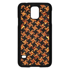 Houndstooth2 Black Marble & Copper Foil Samsung Galaxy S5 Case (black) by trendistuff